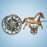 Antique Child's Bell Pull Toy with Horses