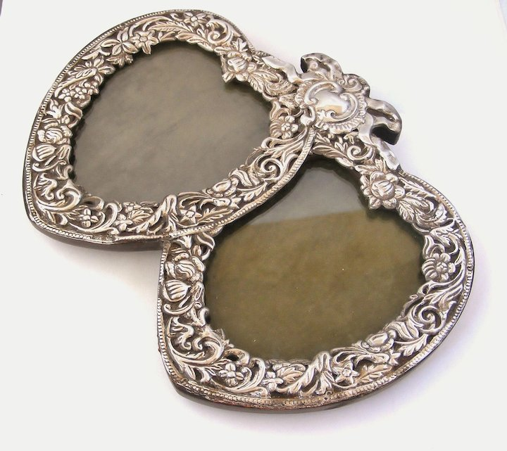 Large Edwardian sterling silver double heart photo frame : Lyonesse ...