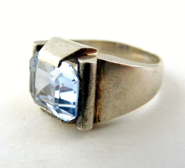 Art Deco French 800 900 Silver Blue Paste Tank Ring Jewish History Piece From