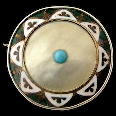 Arts and Crafts sterling silver , enamel, mother of pearl and turquoise brooch