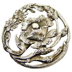 French art nouveau 800-900 repousse silver poppy brooch