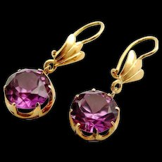 Large pair vintage synthetic Alexandrite and 14k gold earrings - Red Tag Sale Item