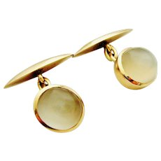 Vintage 14k chunky oval moonstone cufflinks chain link.
