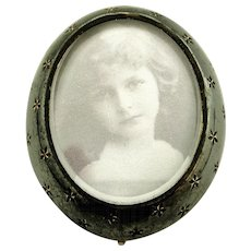 Antique continental 800-900 silver niello locket brooch, now reduced