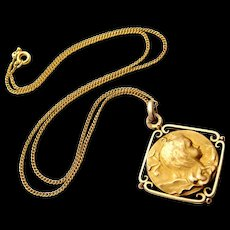 French 18k gold fill art nouveau pendant , pretty girl, later gold filled chain.
