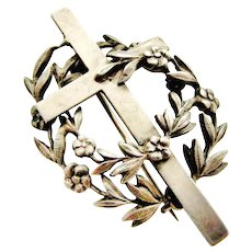 French antique 800 - 900 silver mourning brooch , cross and forget me not flowers - Red Tag Sale Item