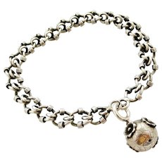 French antique silver bracelet with ball fob, large size