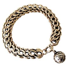 Antique French 800-900 silver bracelet with acanthus ball fob.
