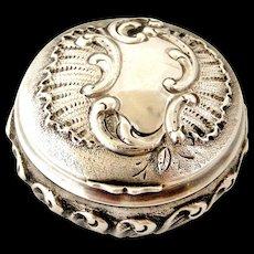 French antique 800-900 silver rococo pill box , art nouveau era.