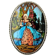 Beautiful art deco Morpho butterfly wing and sterling silver brooch, lady with crinoline in a garden. - Red Tag Sale Item