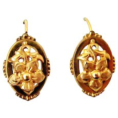 French antique gold filled dormeuse flower earrings