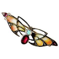 Art Nouveau antique 935 silver plique a jour enamel butterfly bug brooch , opal and ruby paste
