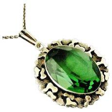 German modernist sterling silver pendant with green stone similar to tourmaline , Friedrich Speidel, Pforzheim