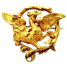 Antique French art nouveau FIX griffin or Chimera brooch in 18k gold fill with cultured pearl