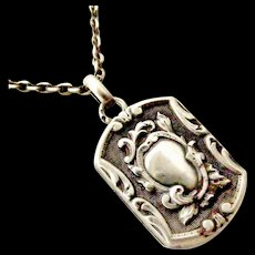 Beautiful Antique art nouveau silver French locket on 19 inch silver chain