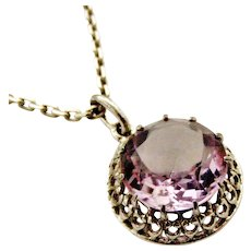 French art deco silver and amethyst pendant on 20 inch silver chain
