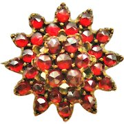 Antique bohemian garnet lace pin cluster brooch