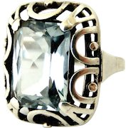 Fabulous art deco aquamarine paste and sterling silver cocktail ring
