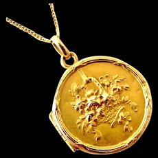 French 18k gold fill flower basket FIX locket on rolled gold chain