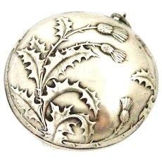 French art nouveau hallmark silver compact locket ,thistle