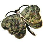 Antique Edwardian hard stone granite butterfly brooch