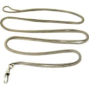 Edwardian style sterling silver foxtail long guard muff chain 55 inches