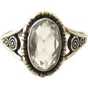 Sterling silver rock crystal ring by Thomas L Mott