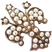 Antique European 800 silver gilt and faux pearl Florence fleur de lis brooch