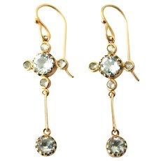 Edwardian 9k gold aquamarine earrings