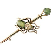 Antique Edwardian cats eye and seed pearl bug brooch
