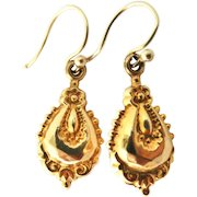 Victorian hollow faceted embossed 9k gold drop earrings