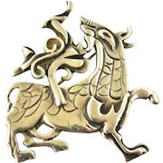 Vintage 1980s sterling silver large Maeshowe dragon brooch by Ola Gorie.