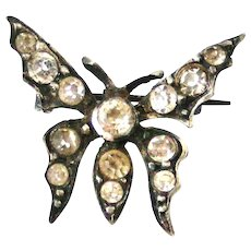 Antique French hallmarked silver paste butterfly brooch