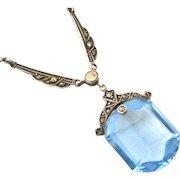 Swiss art deco 935 sterling silver marcasite blue paste necklace.