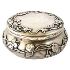 French art nouveau hallmarked silver large pill box cyclamen