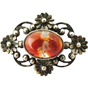 English arts and crafts silver moss agate brooch Shipton and Co.