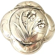 French art nouveau 800-900 silver iris compact or pill box