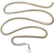 Edwardian antique 800 continental silver long guard muff chain