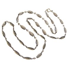 Pretty French antique hallmarked silver filigree chain 26 inches long
