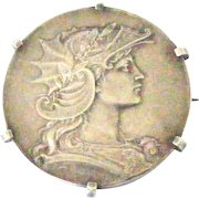 French antique art nouveau 800-900 silver Marianne brooch by Henri Dubois