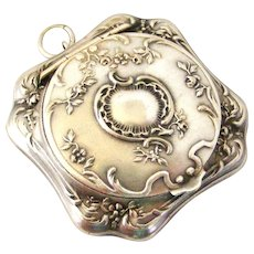 Lovely French art nouveau compact locket for a chatelaine in 800 silver