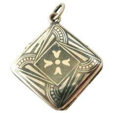 French 800 silver niello square locket art deco