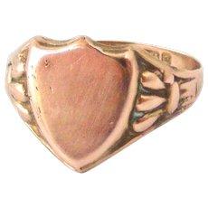 Antique 9k rose gold shield signet ring Chester hallmark