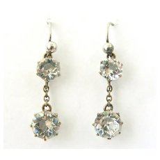 Antique paste earrings in 800 silver and low grade 8k gold