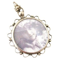 Pretty French 800 silver and glass screw top photo locket