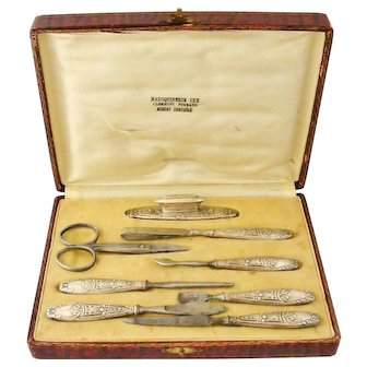 French antique art nouveau 800-900 silver manicure set in original case