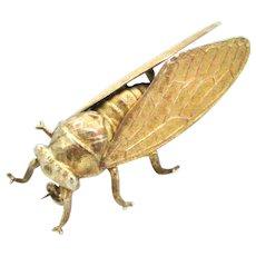 French antique silver gilt cicada bug brooch