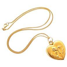 French art nouveau iris heart pendant in 18k gold fill