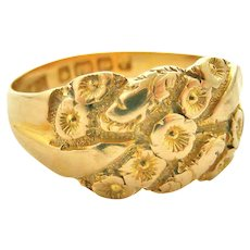 Antique 18k gold lovers knot forget me not ring 1908