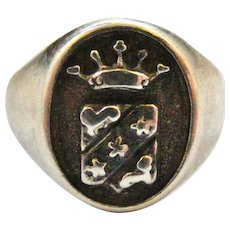Vintage Italian sterling silver armorial crest signet ring